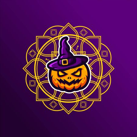 Pumpkin Vector T-Shirt Designs With Mandala Background For Apparel