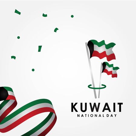 Kuwait National Day Vector Design With Ribbon And Town