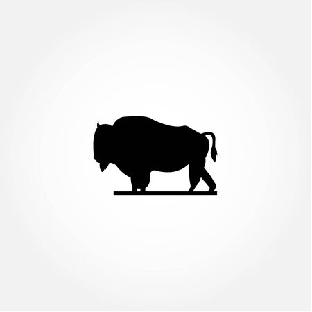 Buffalo Animal Silhouette Vector For Banner or Background 向量圖像