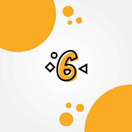 6 Yellow Line Anniversary Numbers Design