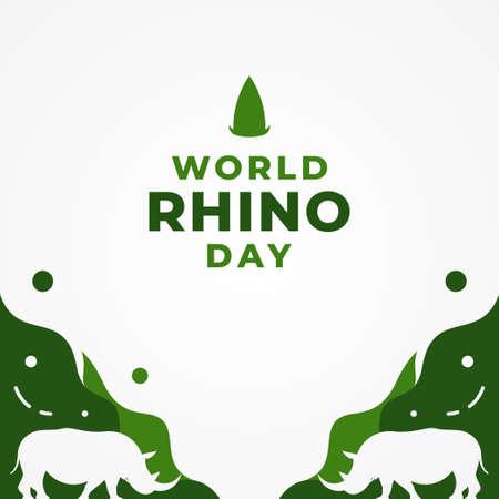 World Rhino Day Vector Design Illustration Illustration