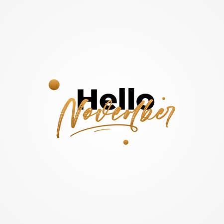 Hello November Vector Design Illustration For Banner and Background 矢量图像