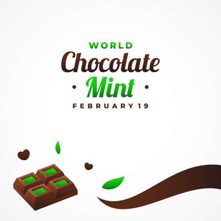 World Chocolate Mint Day Vector Design Template Background 矢量图像