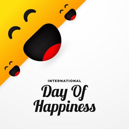 International Day Of Happiness Moment. Happy Day Celebration 矢量图像