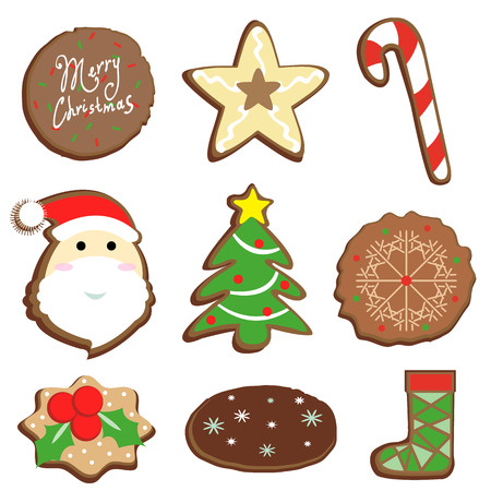 Christmas set cookie icon and other decorative elements illustration Vector