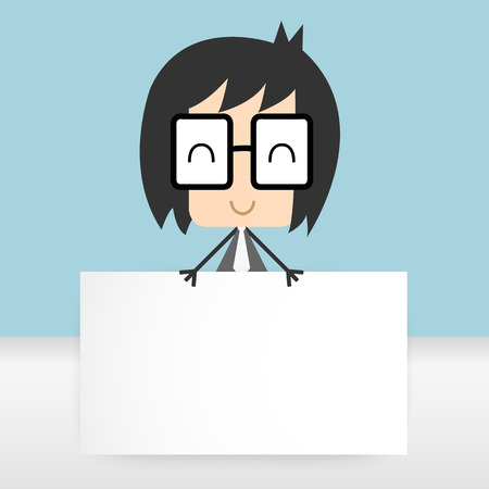office paper: vector businessman holding office paper presentation