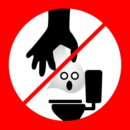 dispose: Do not Dispose tissue paper- toilet vector