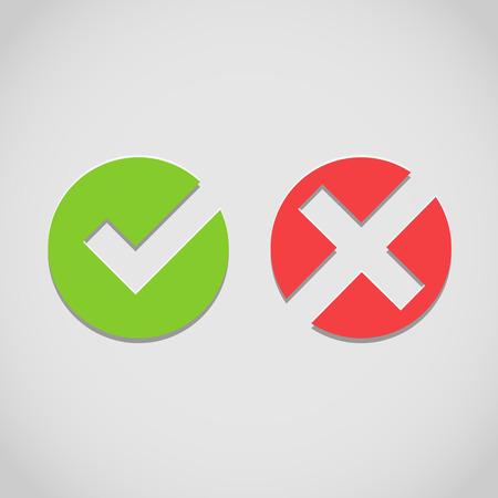 wrong: Vector right and wrong check mark
