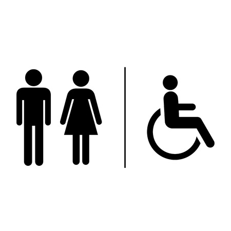 Restroom sign label Ilustrace