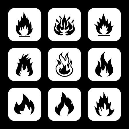 fuoco e fiamme: Fiamme del fuoco impostare le icone Vettoriali