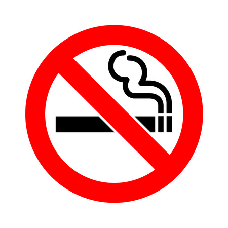 smoldering cigarette: No smoking sign icon vector