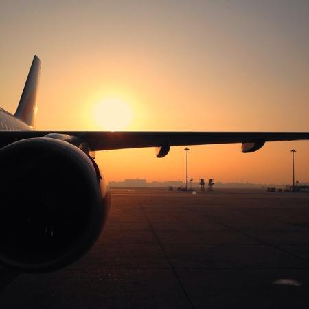 shiny: Airplane at sunset