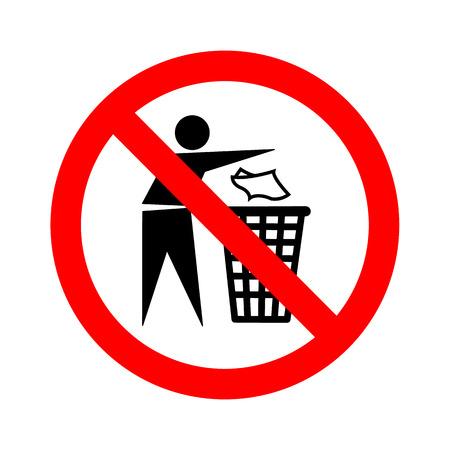 litter: Not litter sign vector Illustration