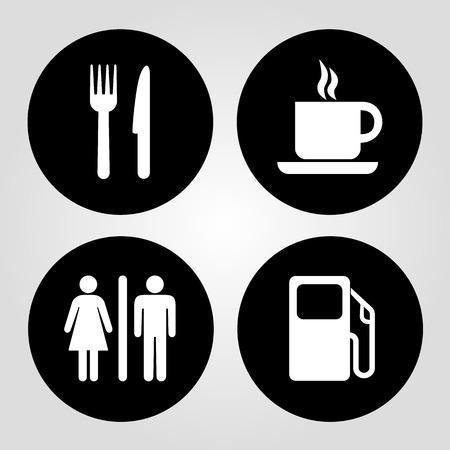 Gasolinera, comida, taza de café y vector wc