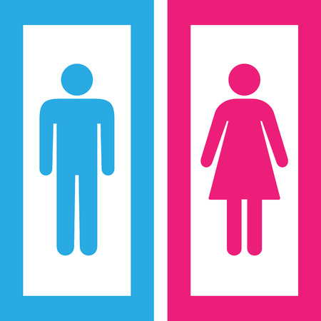 Man and woman toilet sign, restroom symbol Illustration