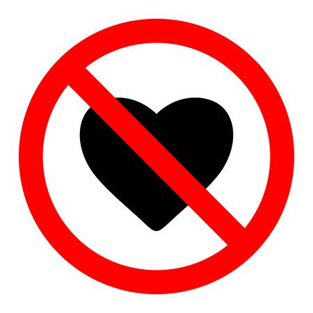 No love sign label vector Vector