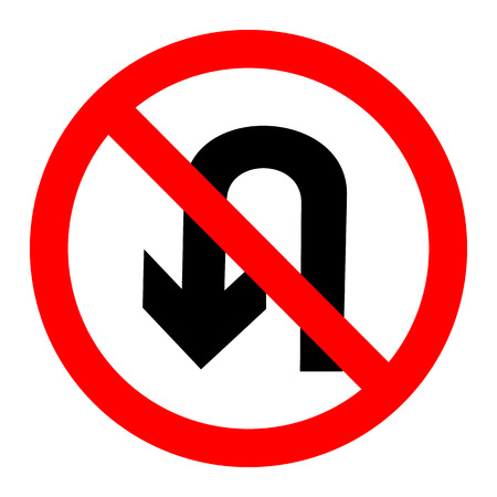 No U Turn Sign Vector