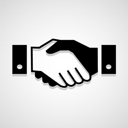 Black icon handshake background for business vector Vectores