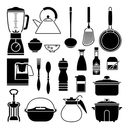 pepper mill: Kitchen tool collection vector silhouette Illustration