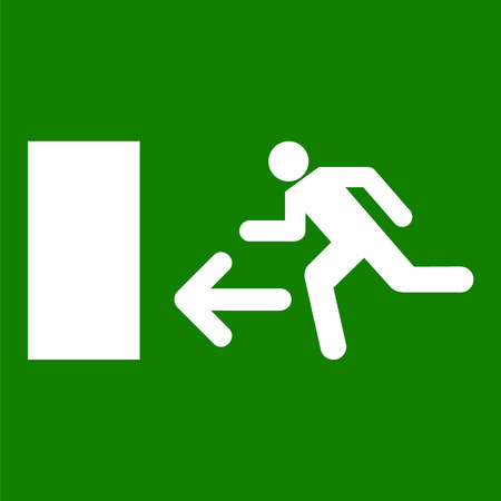 going green: Emergency fire exit door and exit door vector Illustration
