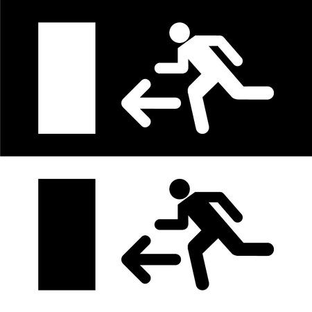 going away: Emergency fire exit door and exit door vector Illustration