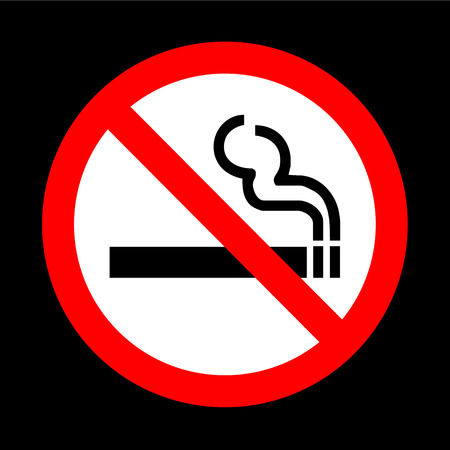 smoking a cigar: No smoking sign vector on black background