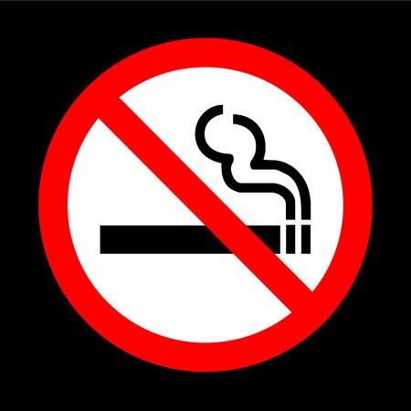 no fumar: No vectorial signo de fumar sobre fondo negro