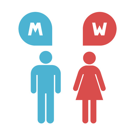 man and women wc sign: Man and lady toilet sign