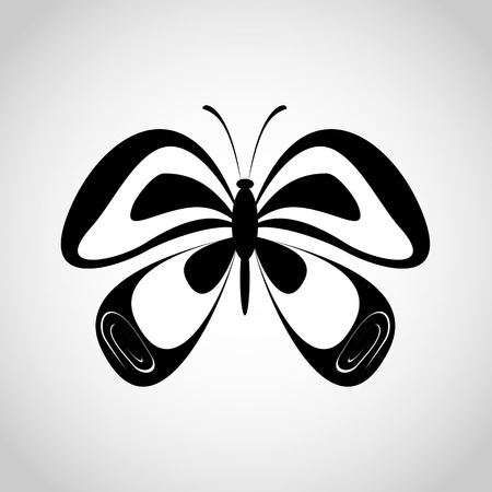 flapping: Butterfly silhouette black