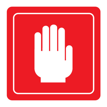 unauthorized: No entry hand sign on red background