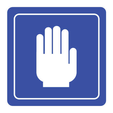 No entry hand sign on blue background Vector