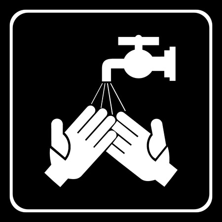 please wash your hands label: Please wash your hands sign vector