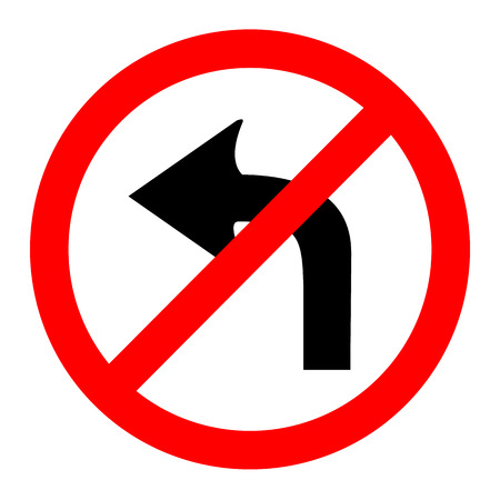 illustration of no left turn round sign on white background Vector