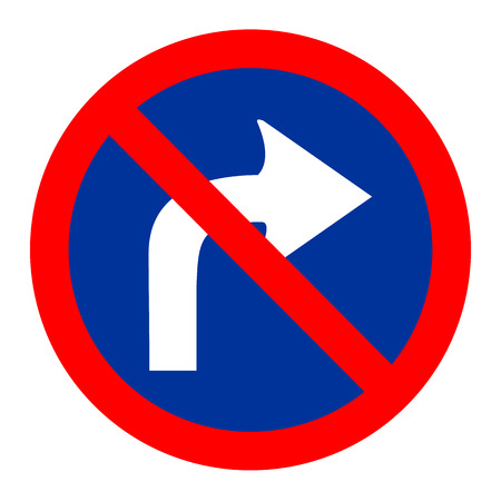 illustration of no right turn round sign Vector