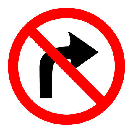 illustration of no right turn round sign on white background Vector
