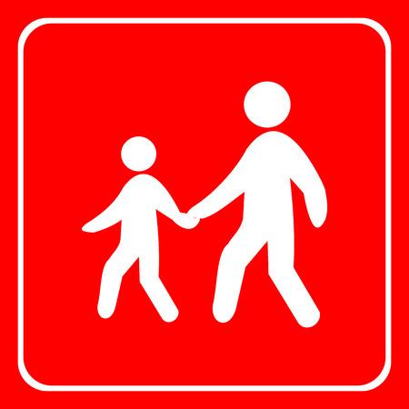 pedestrian walkway: Warning traffic, Pedestrian traffic road sign Illustration