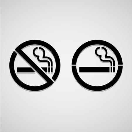 smoking place: No smoking and Smoking area labels, vector illustration