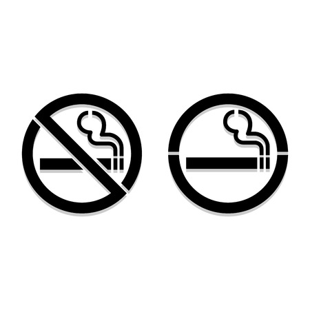 cigar label: No smoking and Smoking area labels, vector illustration