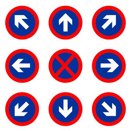 Traffic direction signs vector illustration Vector