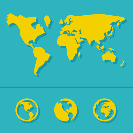 world map: World map sign and icon