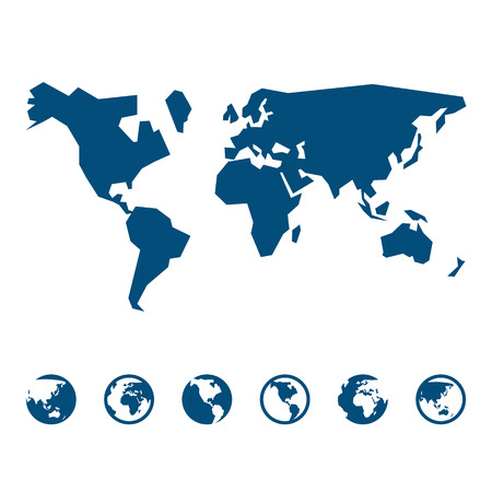 realist: World map sign and icon