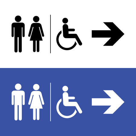 directional sign: Restroom icon, toilette signs