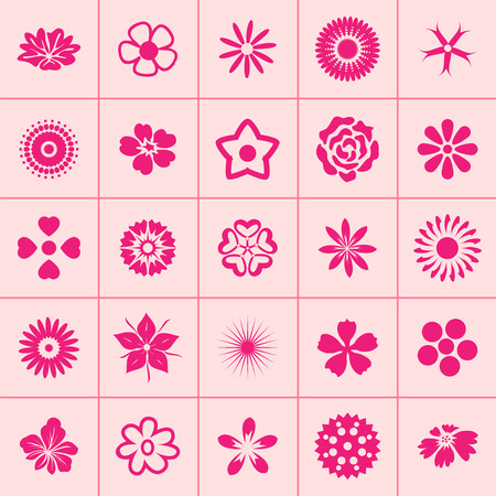 Set of flowers icon Vector
