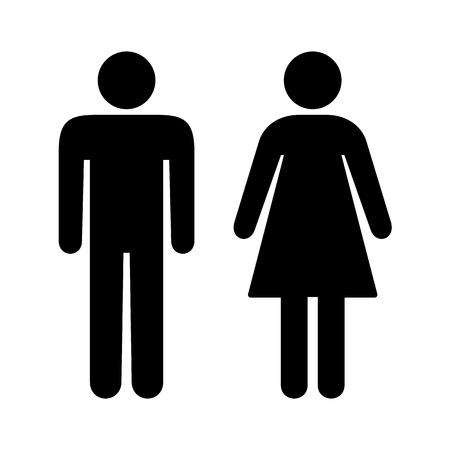 toilet sign: Black and white toilet restroom sign Illustration