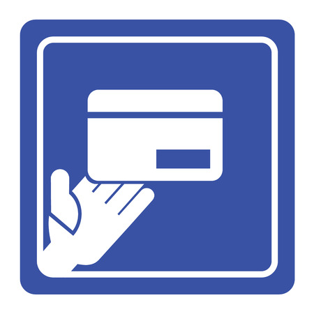 hand holding id card: Vector hand holding credit card icon or sign