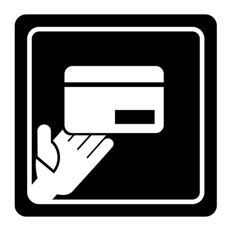 holding credit card: Vector hand holding credit card icon or sign