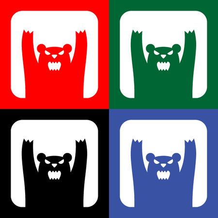 wild bears: Traffic wild bears icon or sign, EPS10 Illustration