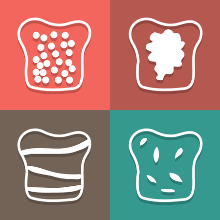 bread roll: Vector bread icon set,