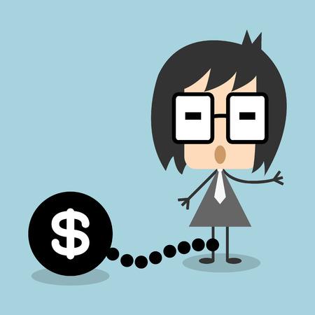 Vector businessman chain debt or money,