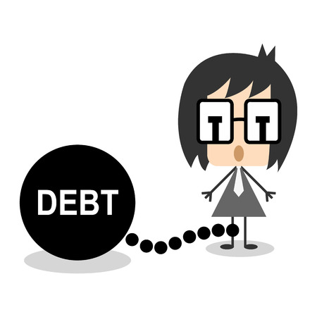 prisoner of the money: Vector businessman chain debt or money